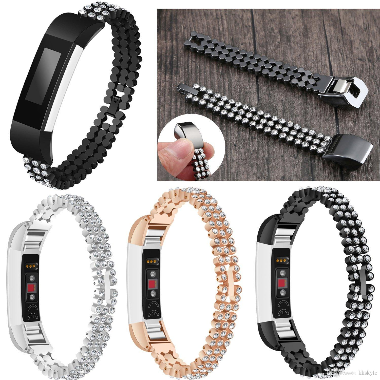 For Fitbit Alta Hr Bandsstainless Metal Bands With Bling Rhinestone Adjustable Jewelry Strap Diamonds Bracelet Accessory Band Comes Connector Which Make You Able To Change The Size Without Any Tool
