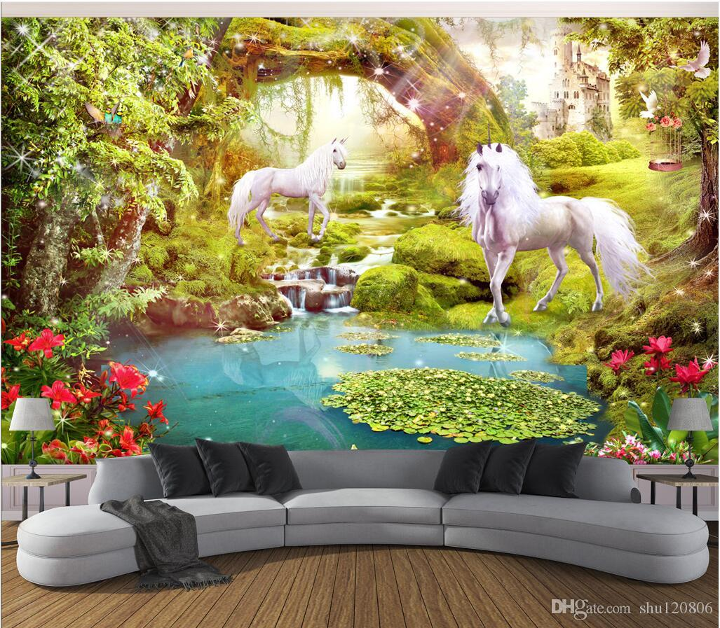 3d Wallpaper On The Wall Custom Photo Forest White Horse 3d ...