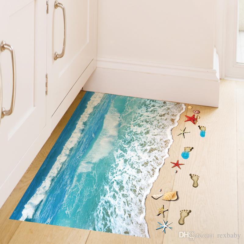 Романтический море пляж этаж стикер 3D моделирование пляж Home Decor наклейка для украшения ванная комната Спальня Гостиная фон стикер стены
