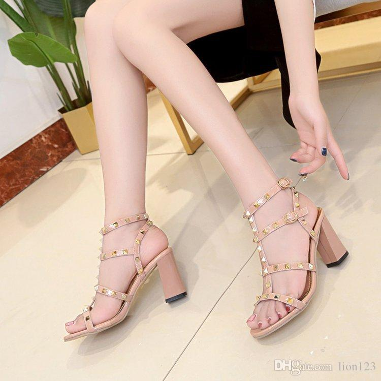 3b7011dca5a7 Newest Luxury Brand Design Leather Women Stud Sandals Slingback Pumps  Ladies Sexy High Heels Fashion Rivets Shoes Wedges Espadrilles From  Lion123