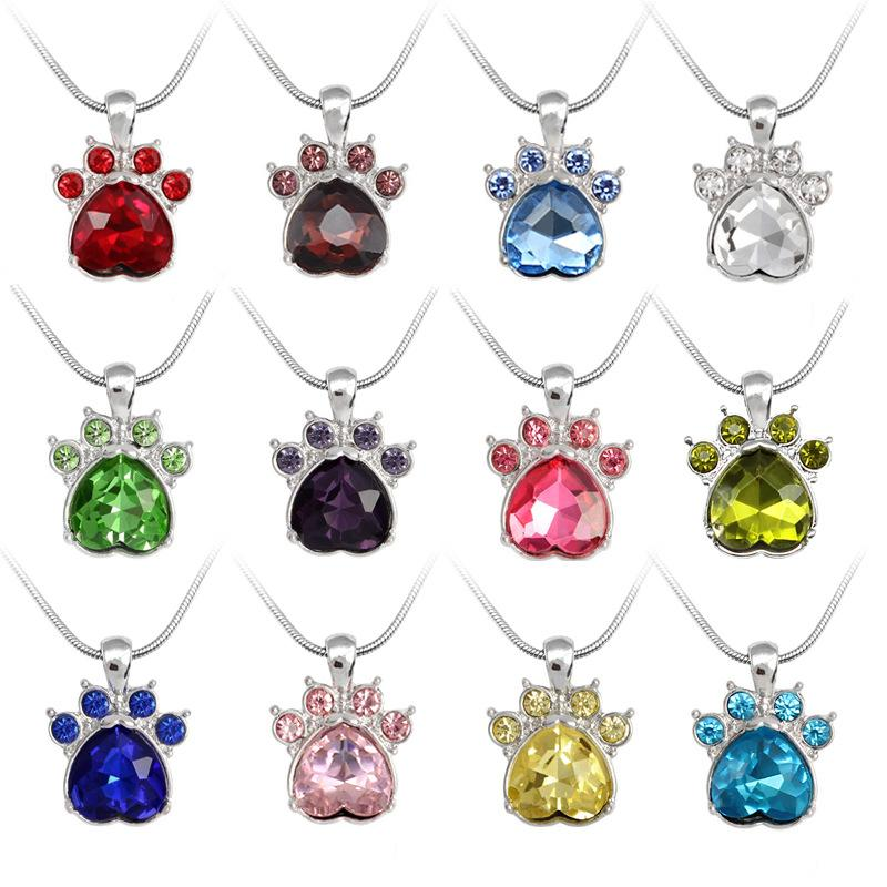 wholesale europe united states hot selling cute dog cat claw 12 colour crystal rhinestone pendant necklace creativity female women jewelry gold circle