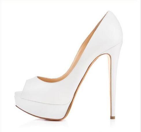 Nude Patent Leather Woman High Heels Pumps 14CM Peep-toe Banquet Stiletto Heel Slip-On Platform Heel Shoes Big Size Party Shoes