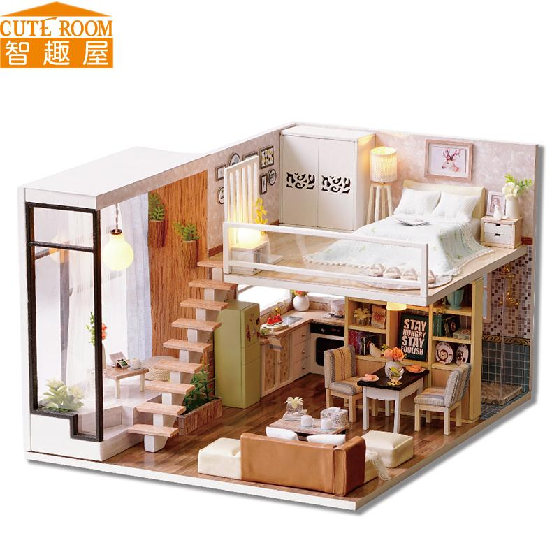 Cute Room Diy Doll House Miniature Wooden Dollhouse Miniaturas Furniture  Toy House Doll Toys For Christmas And Birthday Gift L20 Doll Houses Kits  For Sale ...