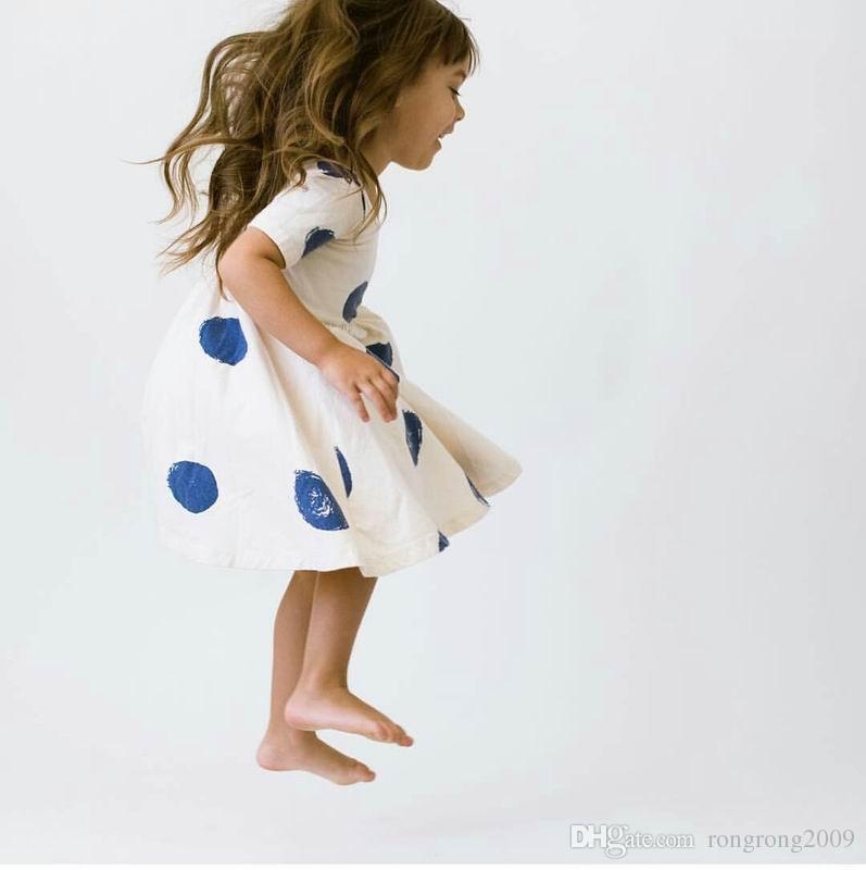b5cb515efca4e Retail Girl Summer Dress Polka Dot Cotton Beach Dress Children Clothing 2-5  Years E1889