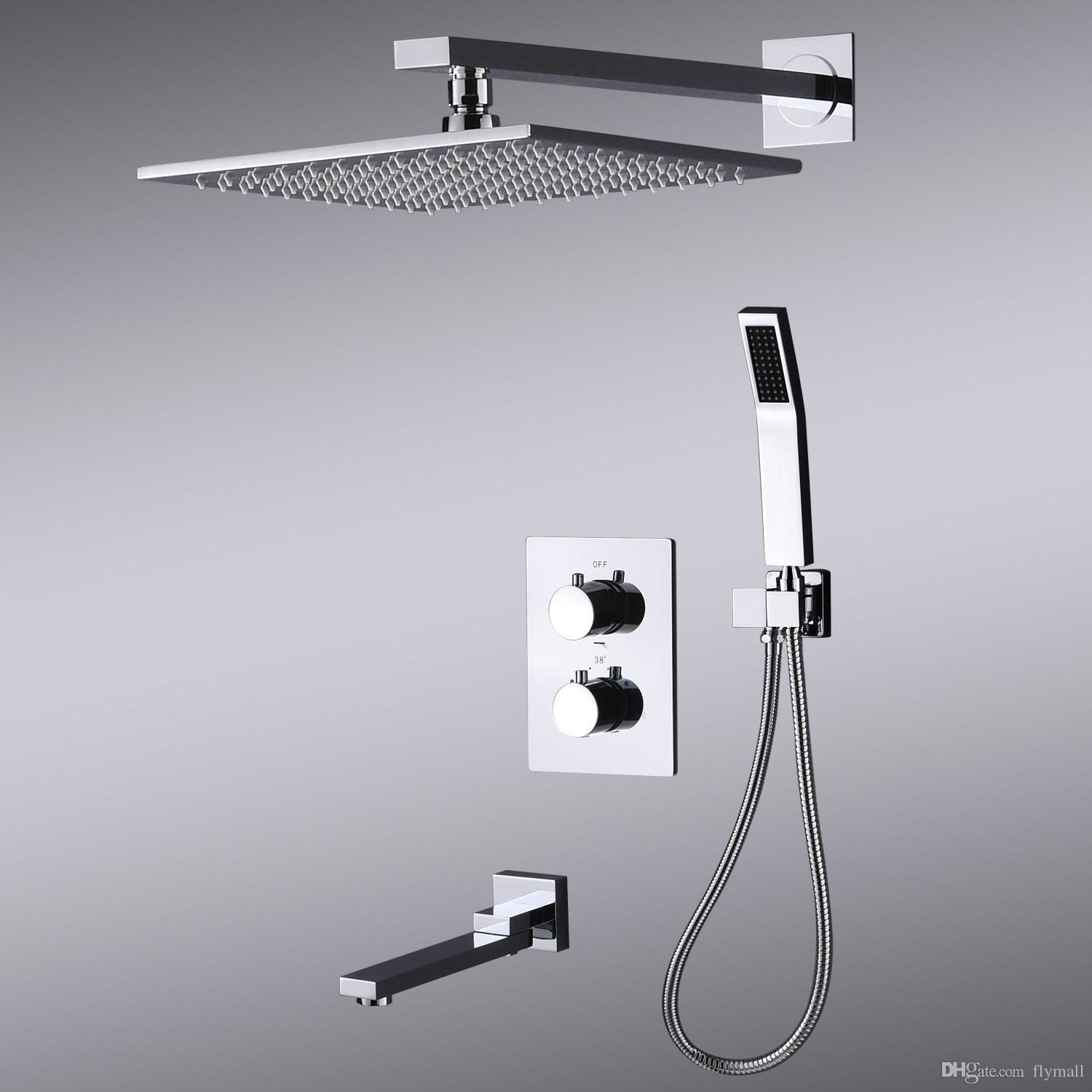 Shower Faucets Bathtub Rainfall Shower Head Wall Mount Panel Mixer Wall Mounted Message Shower Set With Hand Shower Bathroom Shower Set