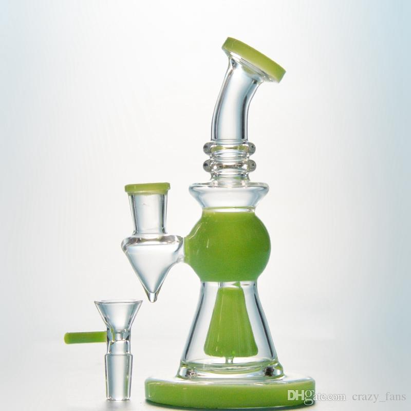 7 Inch Short Nect Mouthpiece Glass Bong With Showerhead Perc Pyramid Design Green Oil Dab Rig Purple Water Pipe With 14mm Bowl