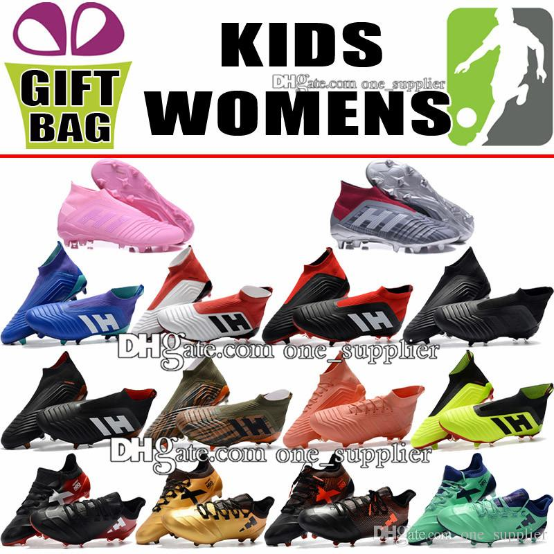 Women Kids Soccer Shoes Trainers Laceless Predator 18 FG Football Boots  High Ankle Outdoor Boys X 17.1 Purechaos FG Soccer Cleats Size 35-39 Kids  Soccer ... 9700a6427c