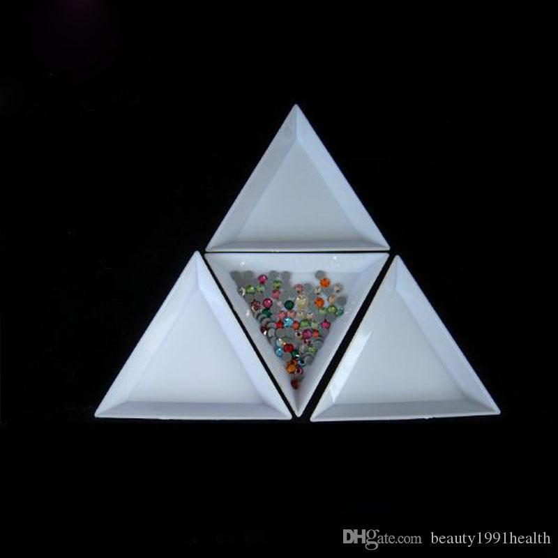 أدوات مسمار البلاستيك الأبيض المثلث جولة الفرز صواني نقطة الماس القرص مسمار أدوات الفن الخرز الراين كريستال صندوق تخزين