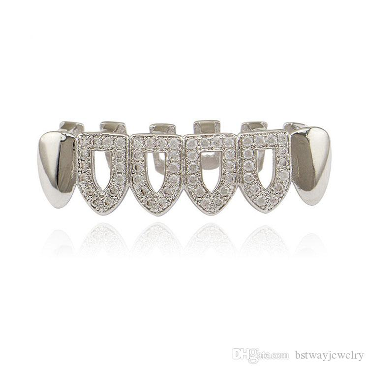 Eco-friendly Crystal Copper Body Jewelry Gold Tooth Sets Teeth Dental Grills Hip-hop Braces Accessories Gold Silver Body Tooth Decoration