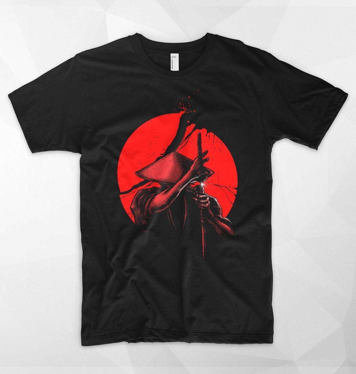 fd9489219 Samurai Slice T Shirt Top Japan Warrior Japanese Sword Katana Coolie Rice  Hat Print Casual T-Shirt Men Brand Top Tee