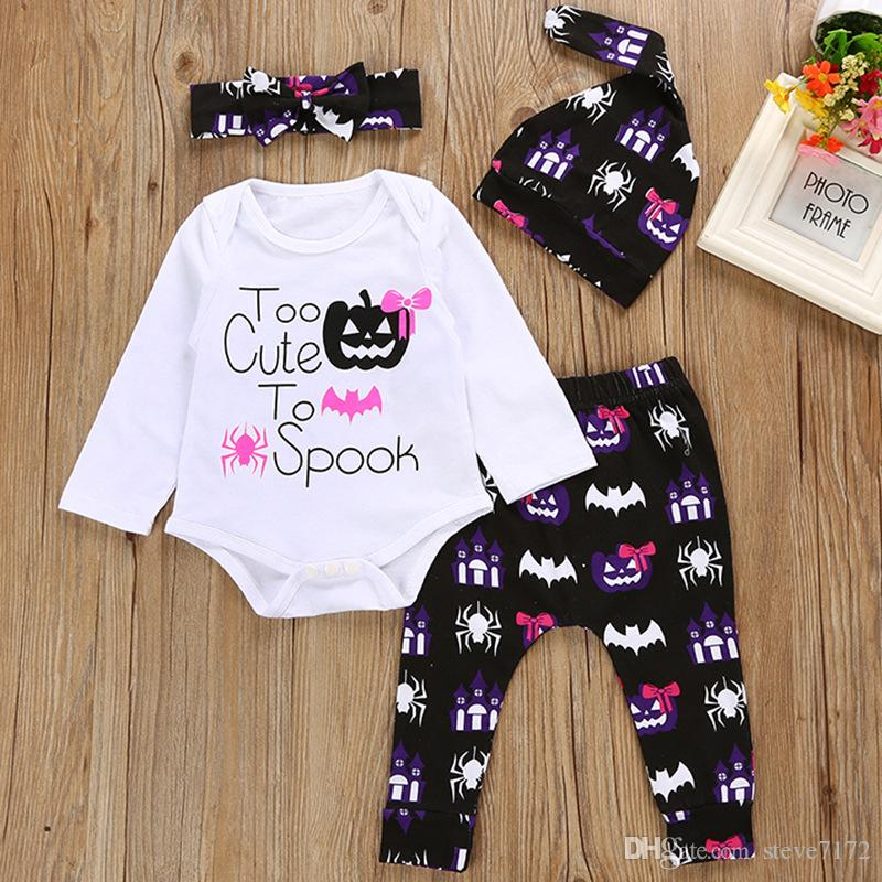2018 halloween costumes baby girl clothes sets 100 cotton newborn bodysuits pant hat hairband suit pumpkin bat spider spook jumpsuit from steve7172