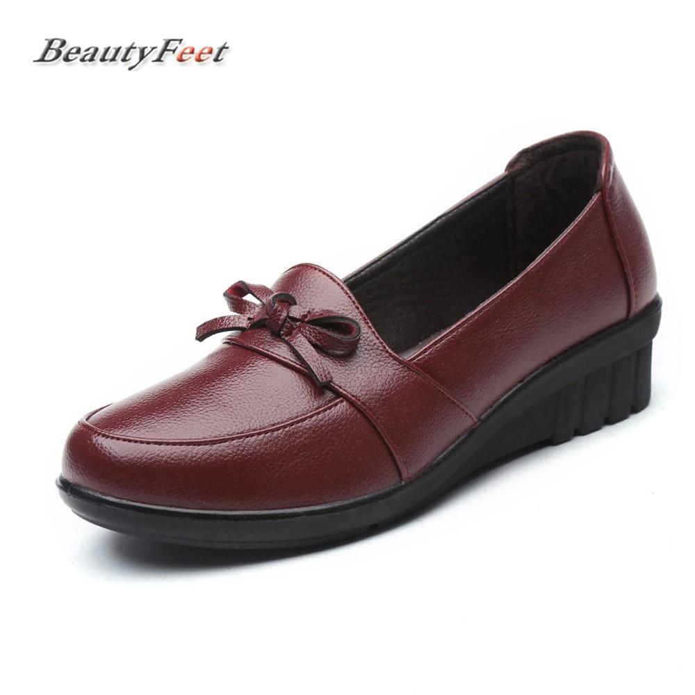 f57f29de2500 BeautyFeet Casual Mom Shoes Woman Leather Soft Bottom Slip On Shallow Women  Shoes Female Oxford Bow Knot Flat Platform Italian Shoes Summer Shoes From  ...