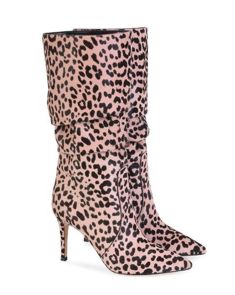 01ac9063a3d 2018 Spring Fall Winter New Three Colors Suede Pointed Super High Heel Boots  Ladies Sexy Leopard Knee High Boots Ladies Shoes Moon Boots From ...