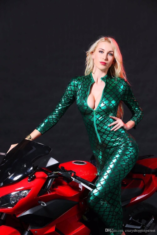 Seksi Jumpsuit Kadınlar Vinil CatsuitLatex Sahte Deri bodysuit Fermuar Açık Kasık PVC Leotard kırmızı, siyah