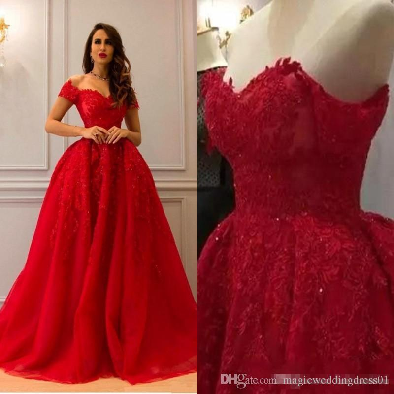 Red Elegant Lace 2018 Arabic Evening Dresses Sweetheart Beaded Ball Gown Tulle Prom Dresses Vintage Formal Party Gowns BA9553