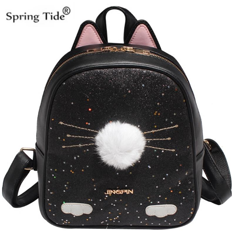 Cute Cat Backpack School Women Pu Leather Backpack For Teenage Girls Funny  Cats Ears Fur Ball Shoulder Bags Female A244A Travel Backpacks Small  Backpack ... 2c704eedd37d6