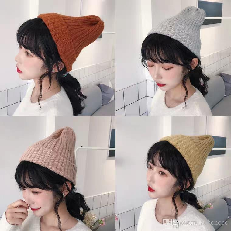 ba6cf2a21b8 Hat Female Autumn And Winter Pure Color Joker Knit Cap Thickening Board  Classic Woollen Cap Thermal Cover Cap Male Headwear Beanies For Men From  Achenccc