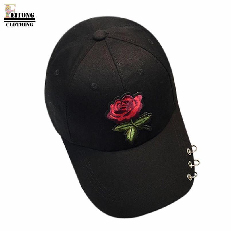 Compre FEITONG 2017 Bonito Rosa Branco Preto Verão Mulheres Rose Chapéu  Bordado Boné De Beisebol Ajustável Unisex Hip Hop Caps Com Anéis De  Goodlines a2b3e6c0c3a