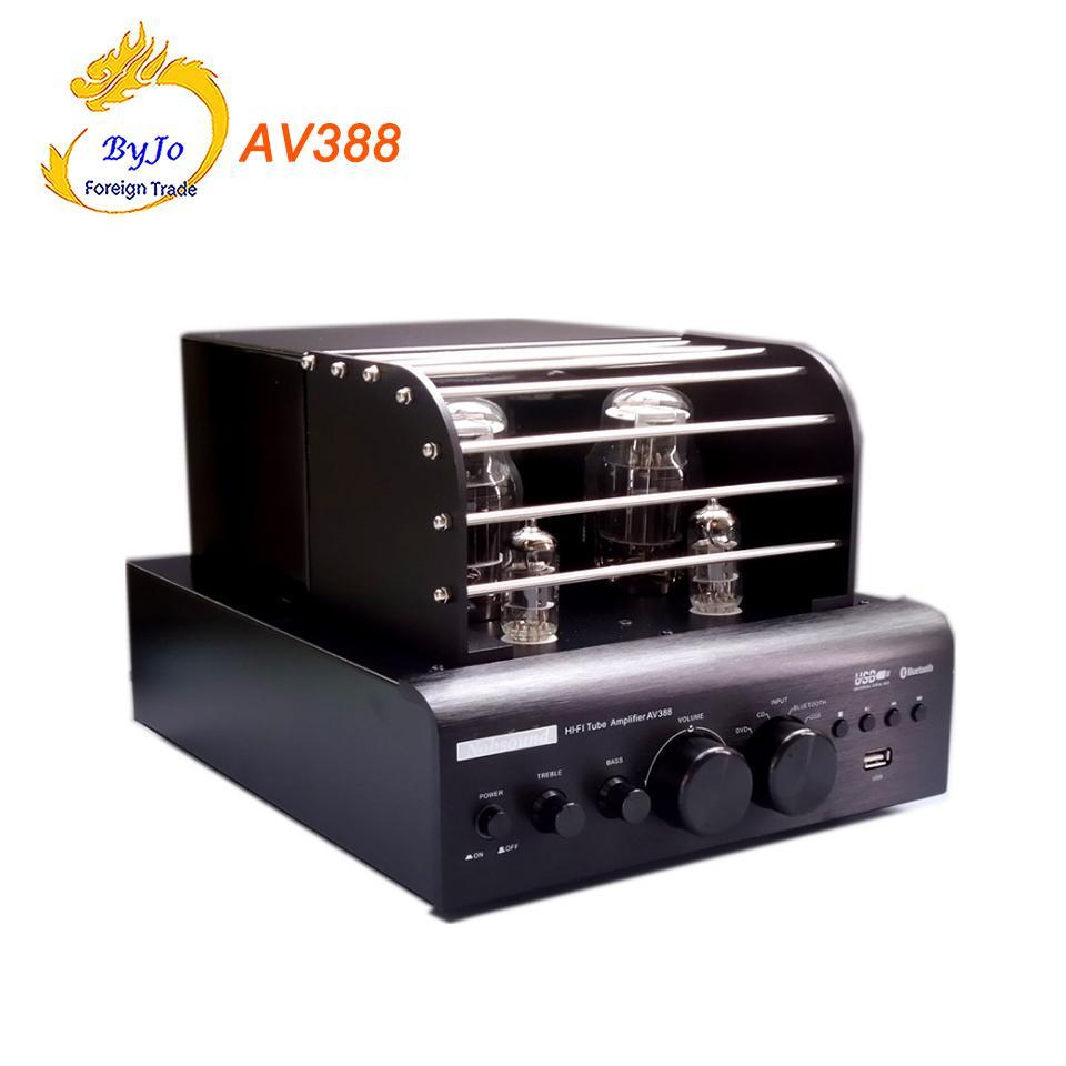 Av388 Bluetooth Vacuum Tube Stereo Audio Amplifier 35w Usb Mp3 Amplifiers Play Bass Output 21 Amp Power