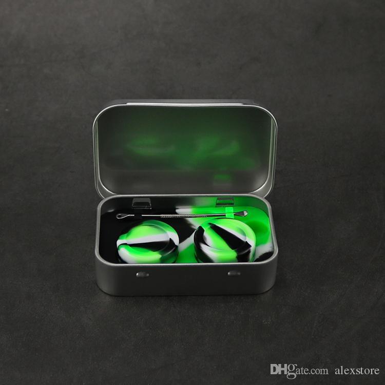 4 в 1 олово силиконовый набор для хранения с 2 шт. 5 мл силиконового воска контейнер масло банку база серебро Dab Dabber инструмент металлический ящик чехол портативный VAPE