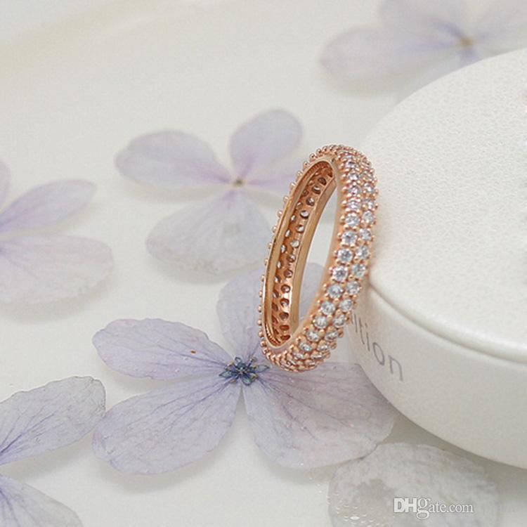 Anelli in argento sterling 100% 925 con zircone cubico Scatola originale anello di moda Pandora San Valentino anello in oro rosa da donna