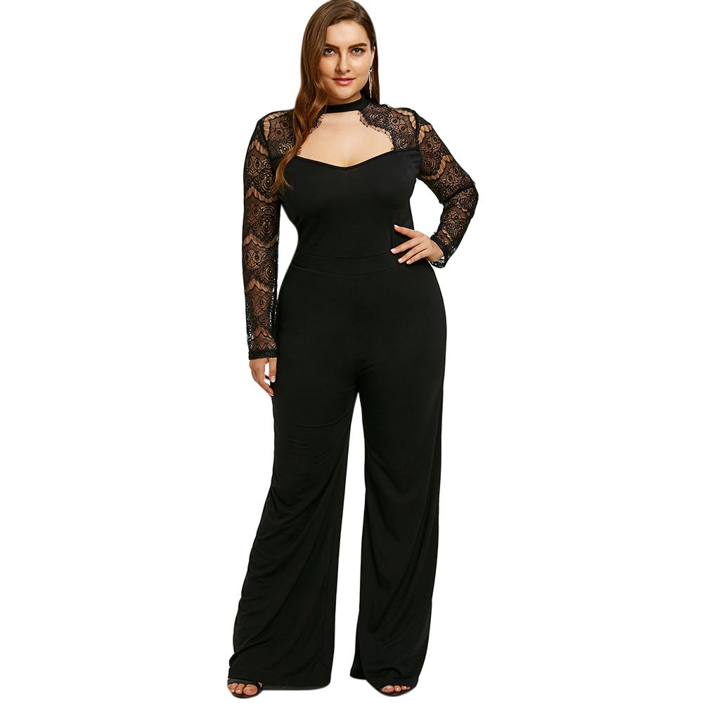 c8fd1e3a882 2019 Gamiss Plus Size Lace Sleeve Cut Out Jumpsuit Wide Leg Jumpsuit Hollow  Out Bodysuits Plus Size High Waist Zipper Fly Bottoms From Blueberry16
