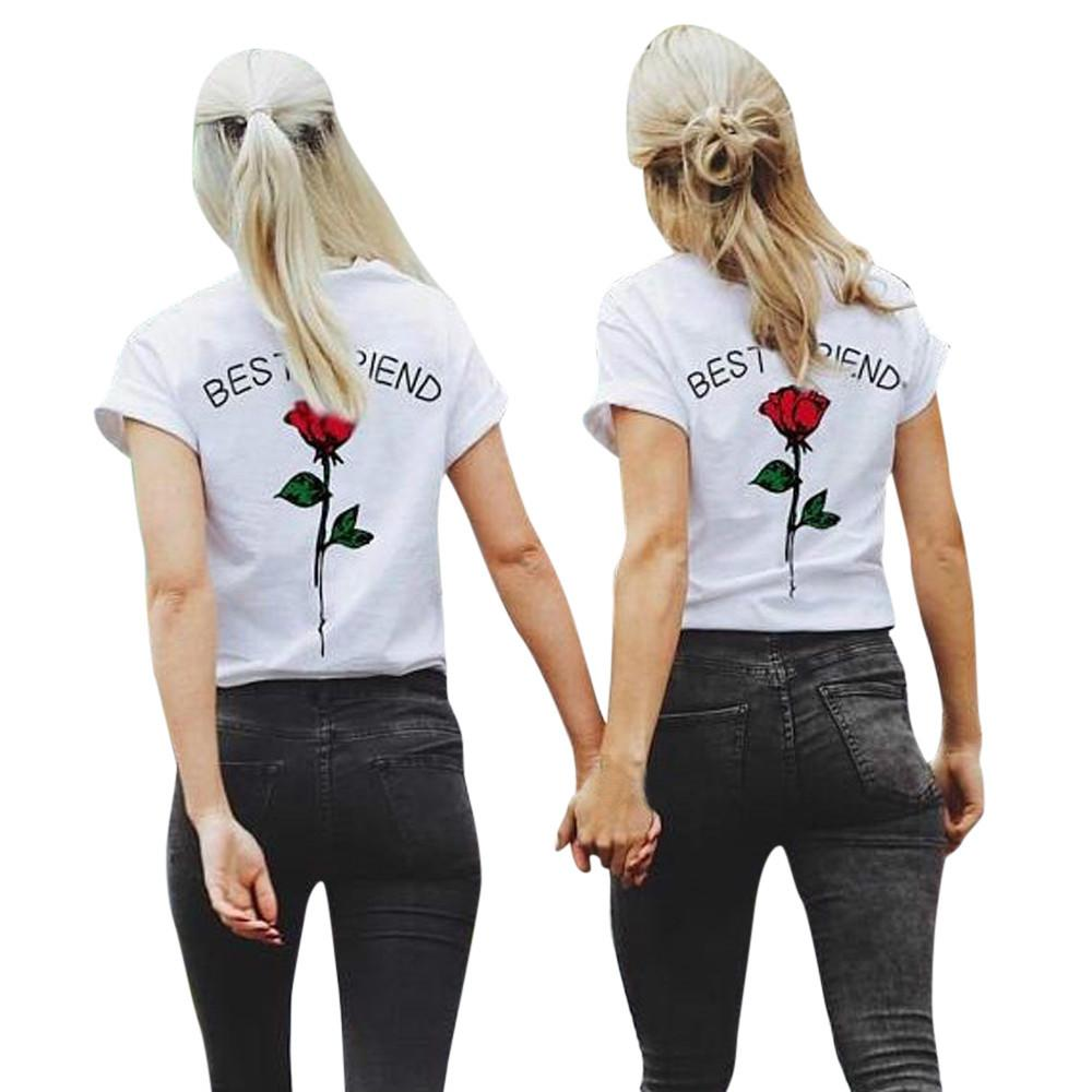 678e4ee455193 S 5XL Plus Size Women T Shirt High Quality Summer Ladies Casual Fashion  Letters Rose Printed T Shirts Best Friends Causal Tops Cool Shirt Designs T  Shirt ...