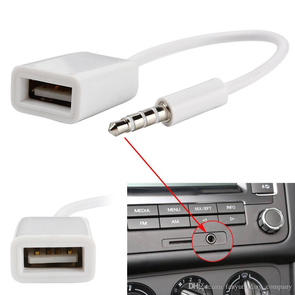 New 3.5mm Male AUX Audio Plug Jack USB Female Converter Cord Cable Car MP3 Car Accessories DHL
