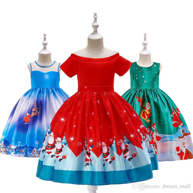 7055264f98bbb Acheter Mode Fille De Noël Robe Santa Flocon De Neige Imprimé Princesse  Bande Dessinée Party Dress Vêtements Vêtements De $18.1 Du Dream_mall |  DHgate.Com