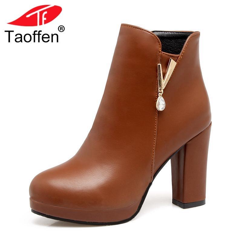53f61922 Compre TAOFFEN Tamaño 33 43 Mujeres Botines De Invierno Cálidos Zapatos De  Metal Mujer Plataforma Botas De Piel Tacones Altos Bling Cristal Zapatos De  Las ...