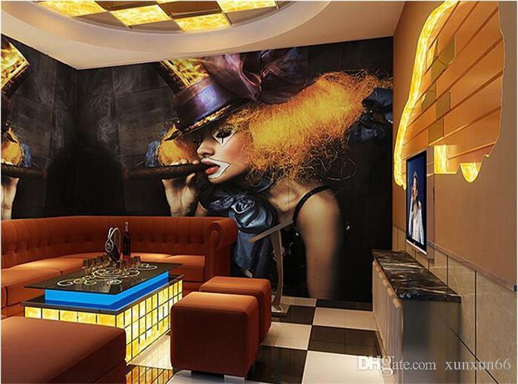 3D Sexy girl smoking disco nightclub bar KTV Cafe wall art wall covering murals-3d wall paper home decor