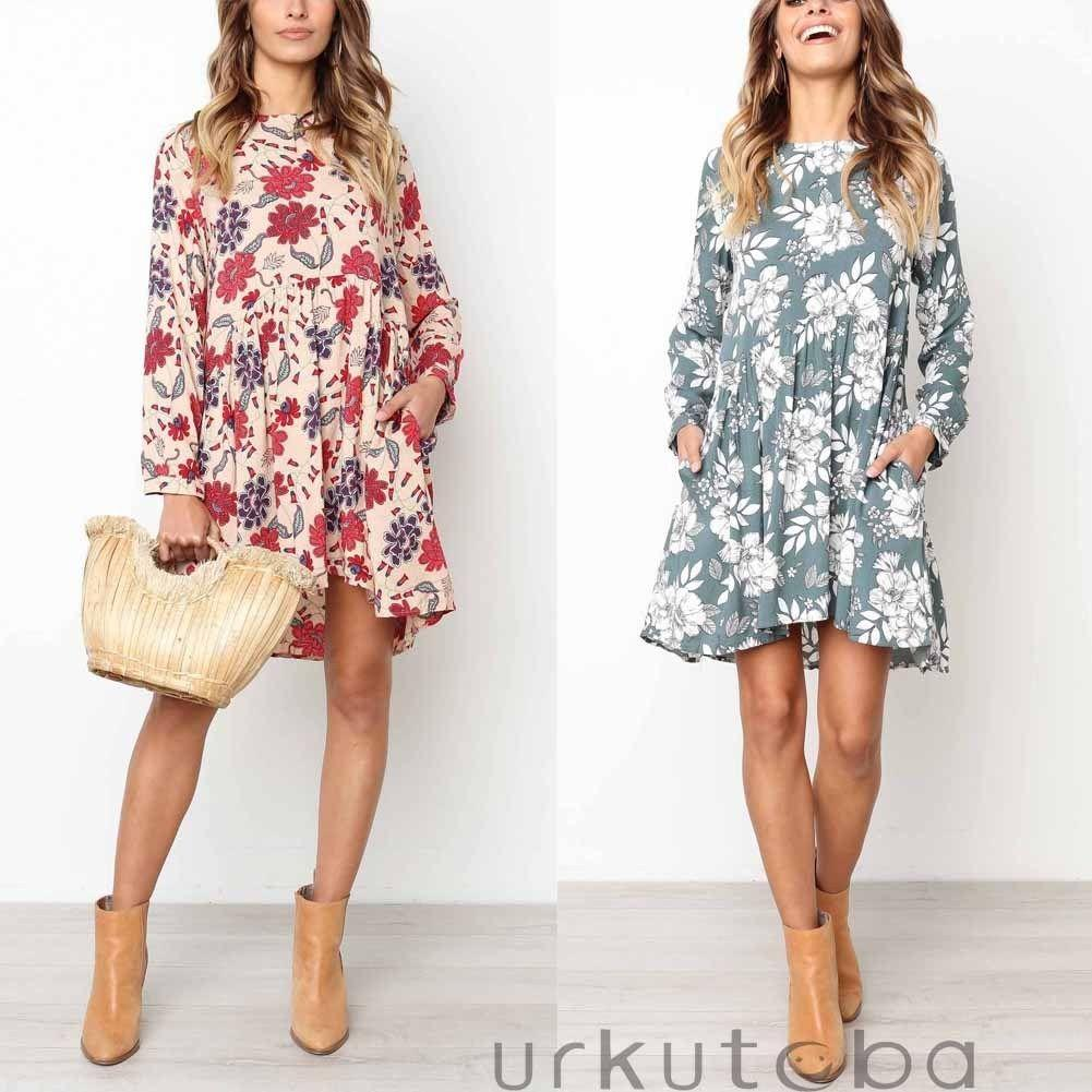 5309466fdc73 Women Dress Boho Floral Chiffon Summer Party Beach Short Mini Dress  Sundress Casual Long Sleeve Women Girl Vestido Cute White Summer Dresses  Clothing ...