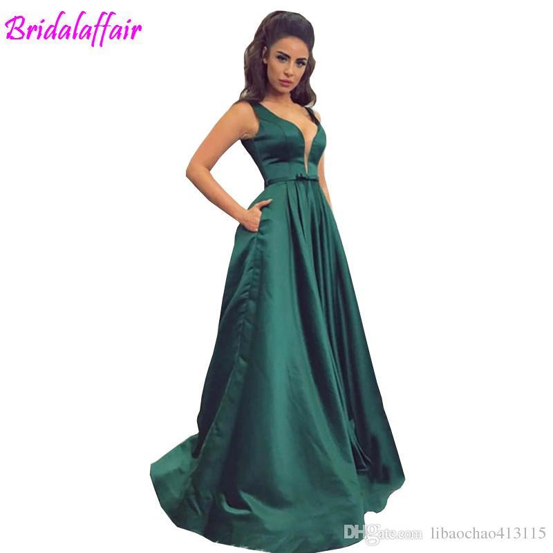 Festa Fiesta Personalizado Noche Largos Vestido 2019 Largo Elegante Satén De Verde Baile Vestidos 4qAR5L3jc