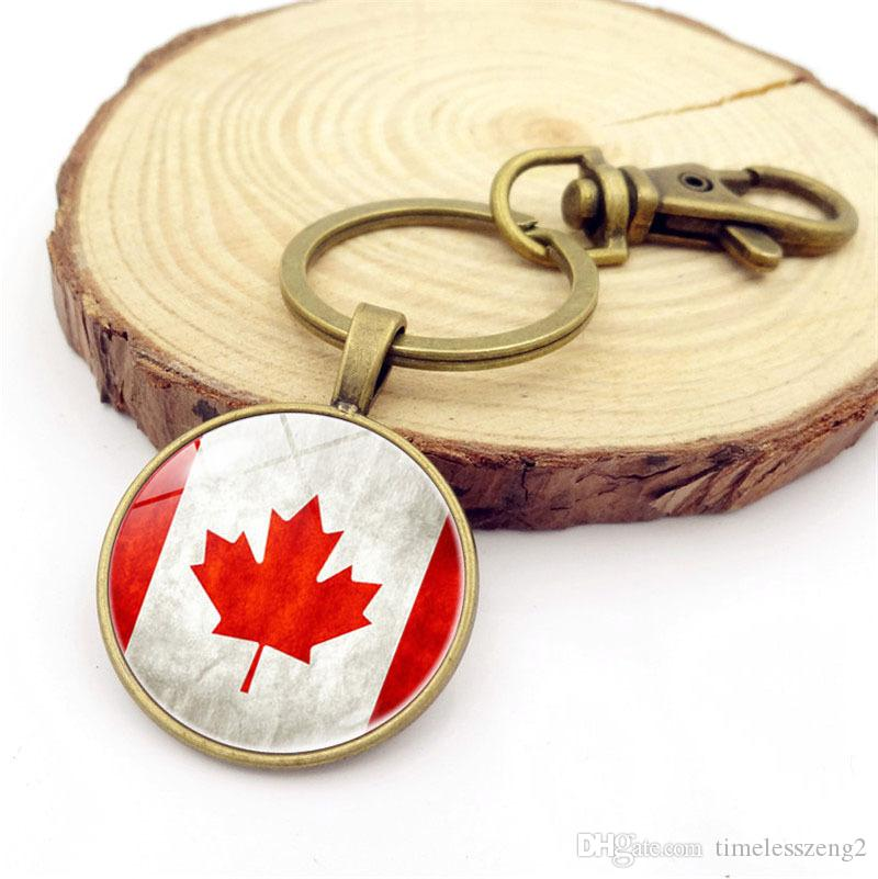 캐나다 국기 열쇠 고리 빈티지 시간 보석 카보 숑 키 링 청동 및 실버 컬러 키 홀더