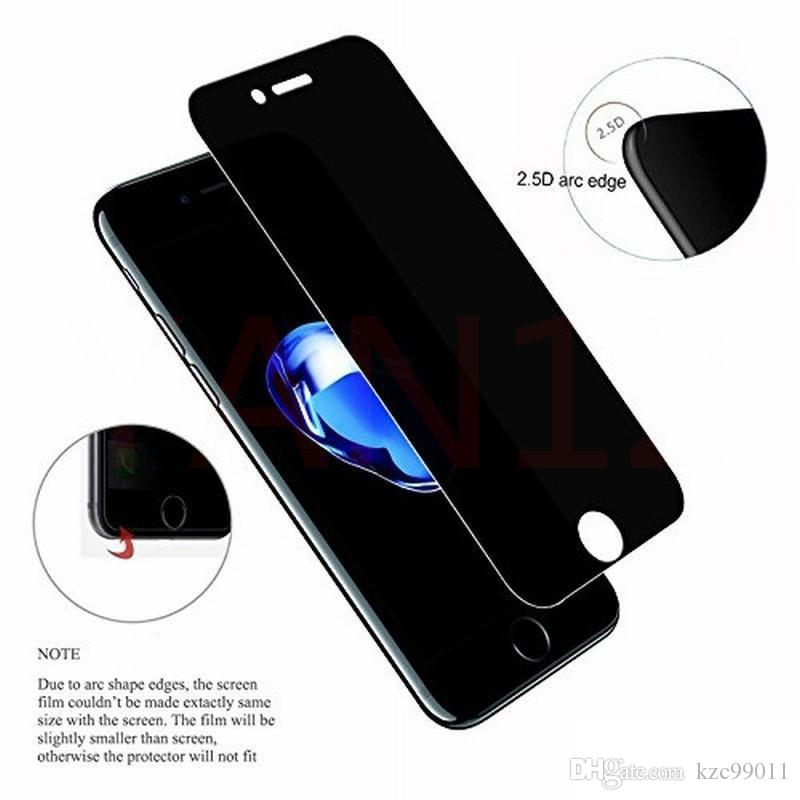For iPhone X Xr Xs Max 8 7 6 6S Plus Privacy 9H cellphone screen protector shield anti-spy tempered glass 2.5d tempered glass samsung S7 S6