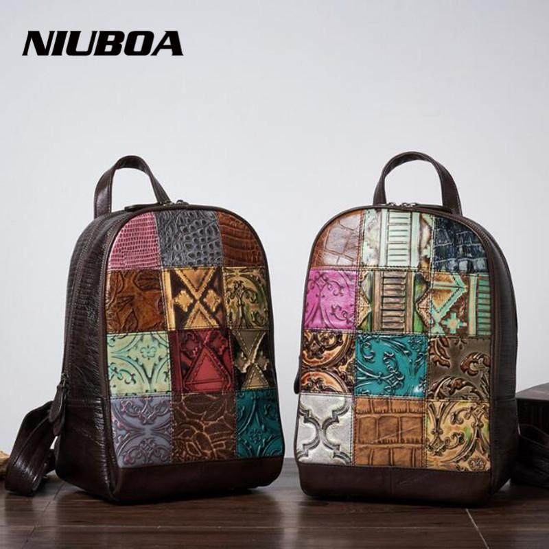 NIUBOA Genuine Leather Women Backpack Special Design Splice Travel BackpacMultifunctional School Backpack Girls Shoulder Bags