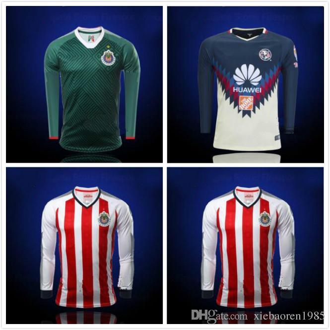 2019 2017 2018 Mexico Club Chivas De Guadalajara Long Sleeve Soccer Jerseys  Third Green 17 18 Home Full Sleeve A.PULIDO Football Shirts From  Xiebaoren1985 94a7ae61c