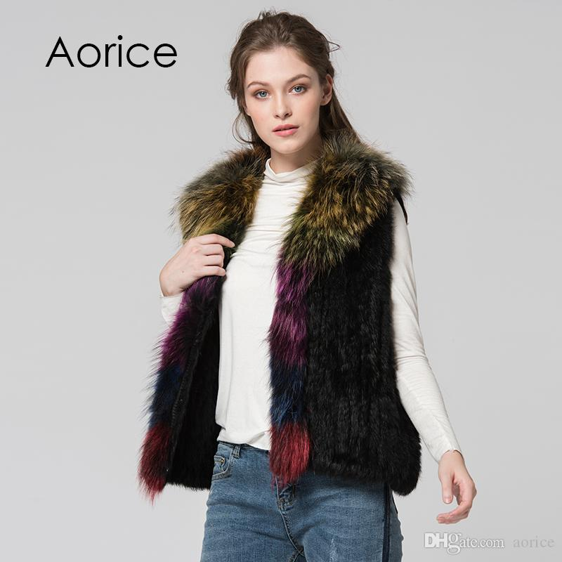 1ca68ec1911 Pudi VR063 New Real Classical Knitted Rabbit Fur Vest Gilet with ...