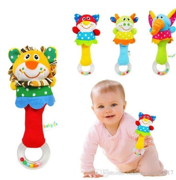 New Lovely Baby Kid Soft Animal Model Handbell Rattles Handle Developmental Toys Gift Baby Educational Toy