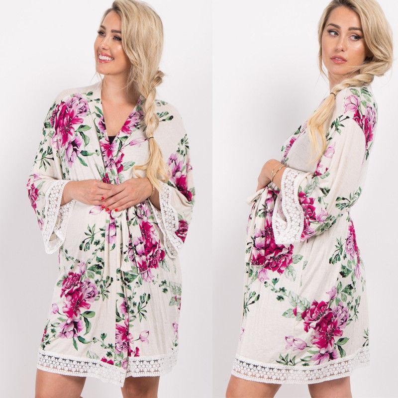 7dc7f17d48ecb 2019 Women Silk Ladies Floral Print Long Sleeve Bathrobe Maternity Bath Robe  Soft Short Dressing Gown Regular Size Summer Clothes From Guchen3, ...