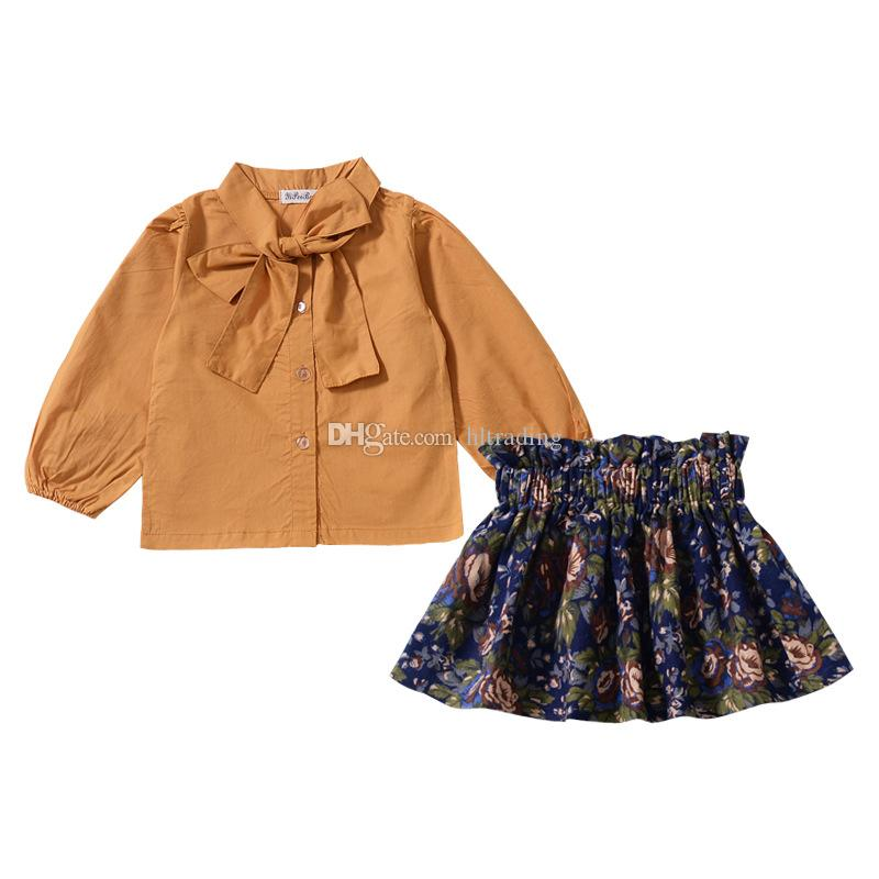 Baby girls print outfits children Bow collar shirt top+Floral skirts 2pcs/set 2018 Autumn Boutique kids Clothing Sets C4849