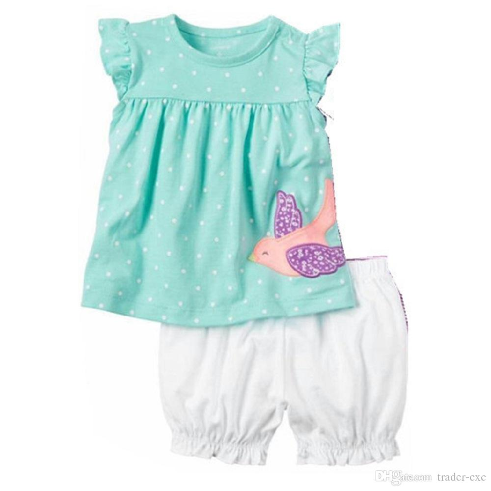 f68926ea55a 2019 Fashion Baby Girls Clothes Suit Bird Cute Newborn Clothing Sets  Toddler T Shirt Hot Shorts Summer Outfit 6 9 12 18 24 Month Tops Sport Suit  From Trader ...