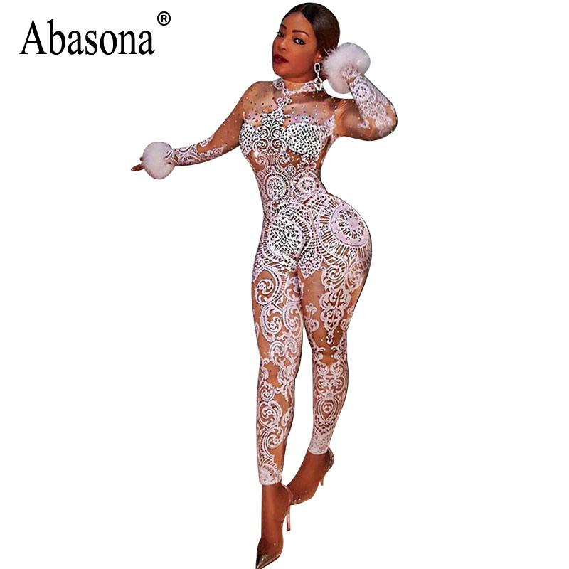 a5ae9a6fdf04 Abasona Vintage Printed Jumpsuits Women Long Sleeve Skinny Overalls Sexy  Party Club Bodycon Bodysuits Rompers Womens Jumpsuit Jumpsuits Cheap  Jumpsuits ...