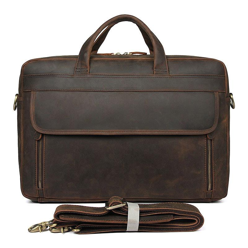 888e0c4bff8 New Men Vintage Briefcases High Quality Solid Genuine Leather Male Shoulder  Bag Large Capacity Business 17 Inch Laptop Bags