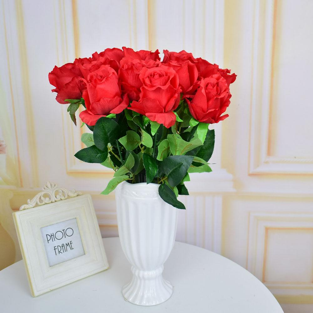Discount Fake Artificial Flowers Silk Roses For Homes Table Party