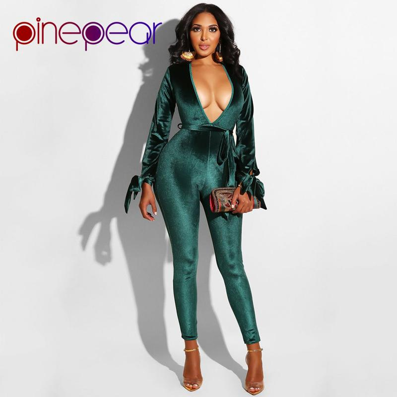 be9a0ae4423 2019 PinePear Sexy Hollow Out Velvet Jumpsuit 2019 Winter Deep V Neck  Backless Belt Bandage Bodycon Overalls For Women Velour Romper From Honhui