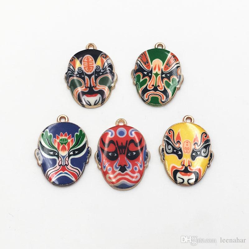 New Arrival Gold Plated Chinese Beijing Opera Mask Charms Enamel Pendants For Key chain Bracelet Jewelry Making