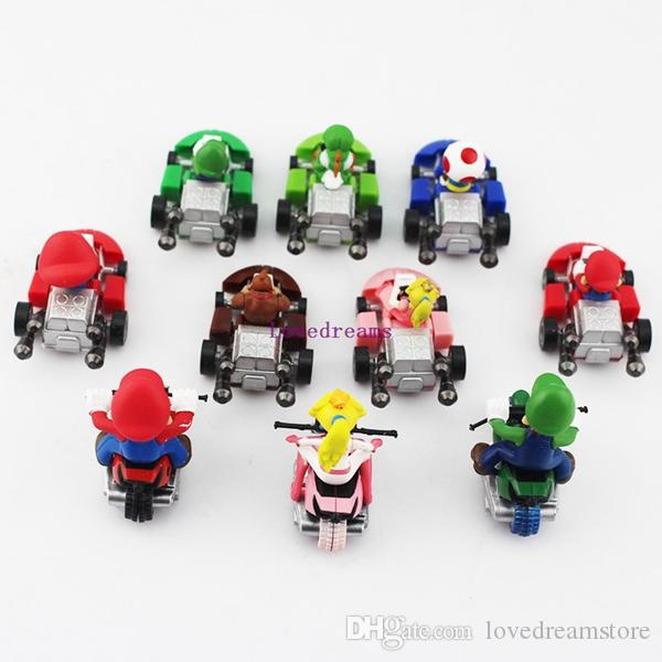 Hot Sale!/New Cute Super Mario Bros Kart Pull Back Car Motorcycle PVC Action Figure Toys Brithday Gift For Phone Accessories