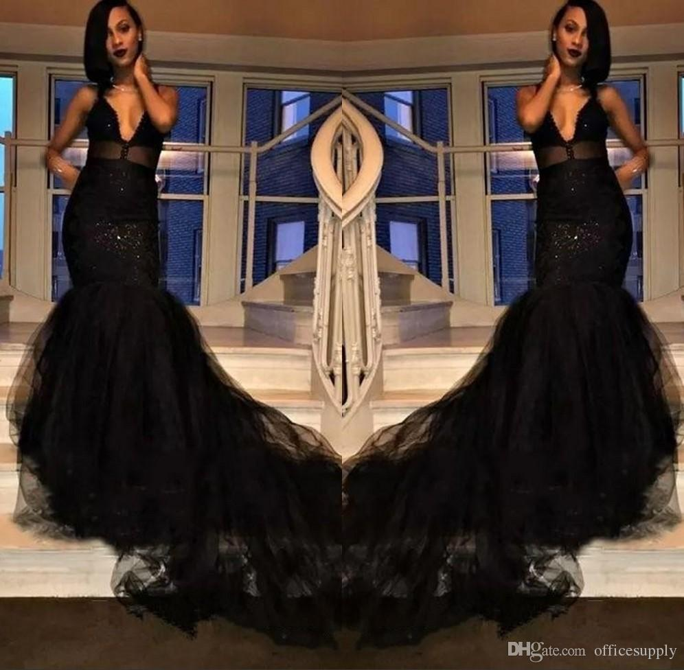 8f542cf9bd6 2018 Custom Made Black Girl Prom Dresses Mermaid Illusion Spaghetti Straps  Layers Ruffles Long Train Evening Occasion Gowns Blue Prom Dress Champagne  Prom ...