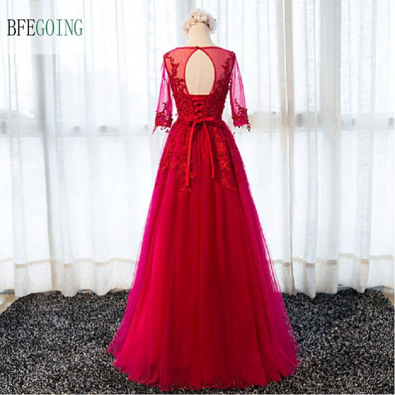 Ruby A-Line Real Photos Scoop Illusion Long Sleeve Lace Appliques With Pearls Evening Dress Sashes Floor-Length Sexy Backless Evening Gowns